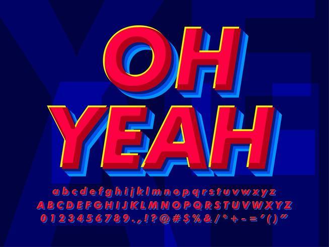 Efeito moderno de texto vermelho e azul vetor