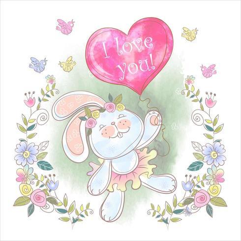 Coelhinha com um balão eu te amo em design aquarela vetor
