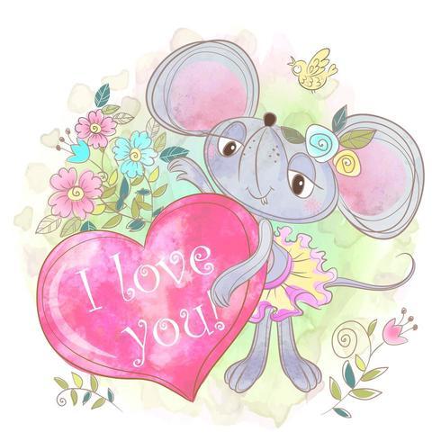 Menina rato bonito com um grande coração. Eu te amo. vetor