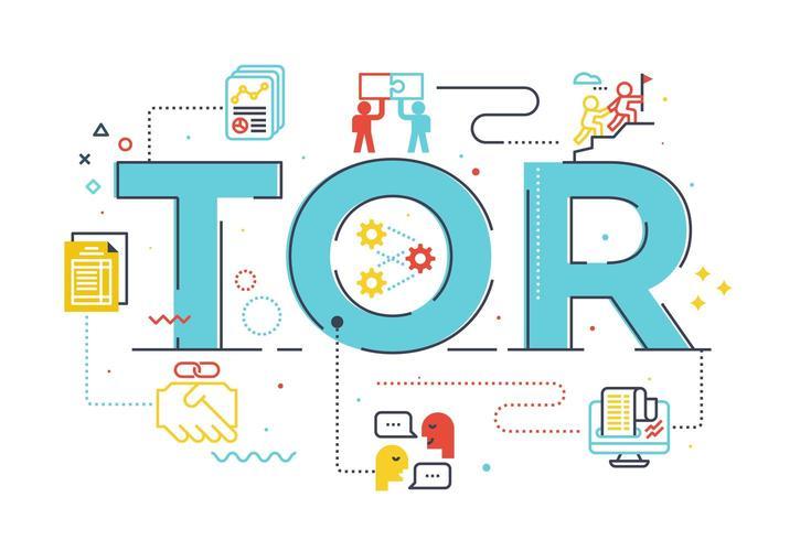 TOR termo de referência palavra letras ilustração vetor
