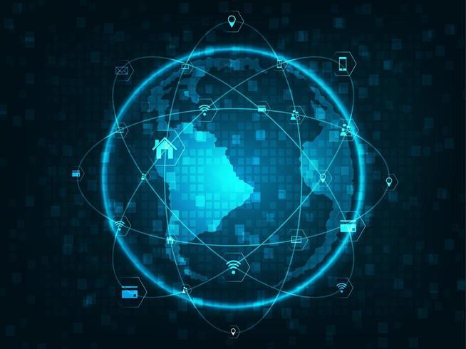Globo com linhas de rede, círculos e ícones planas de tecnologia vetor