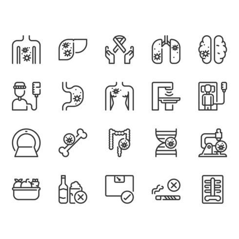 Conjunto de ícones de câncer vetor