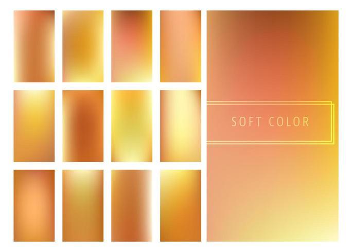 Conjunto de fundo suave gradientes dourados vetor