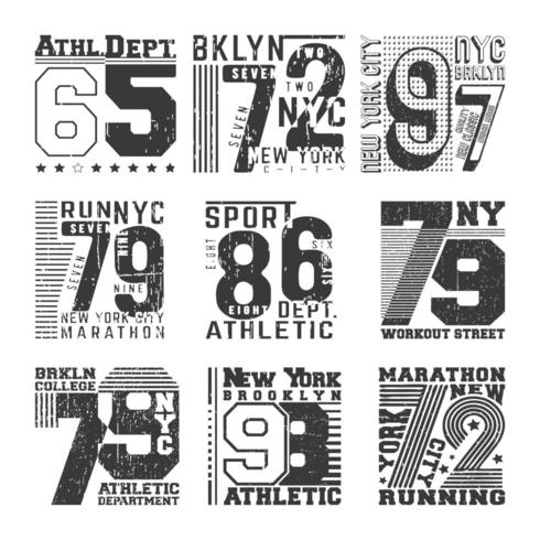 Número de tipografia de carimbo de t-shirt para crachá, apliques, etiqueta camisetas vetor