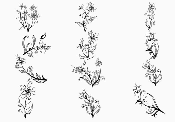 Pacote de vetores de flores desenhados à mão