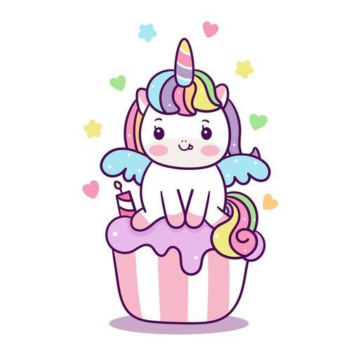 Cupcakes Kawaii cobertura criança unicórnio fada pônei dos desenhos animados vetor