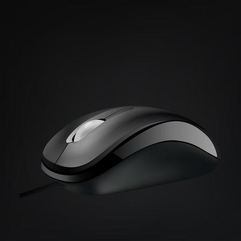 Mouse de computador com roda isolada no fundo preto vetor