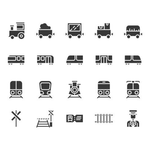 Conjunto de ícones relacionados de estações de trem vetor