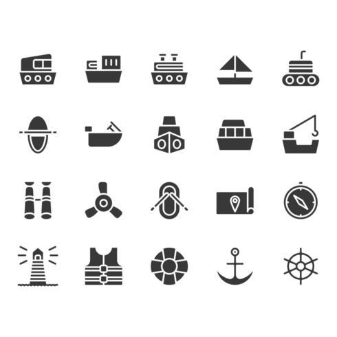 Conjunto de ícones relacionados de navios vetor