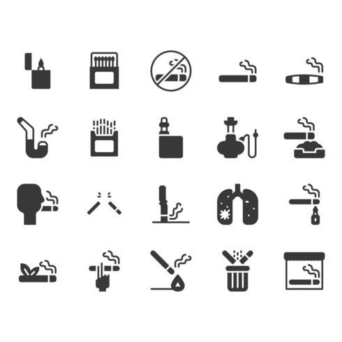 Conjunto de ícones de fumar e tabaco vetor