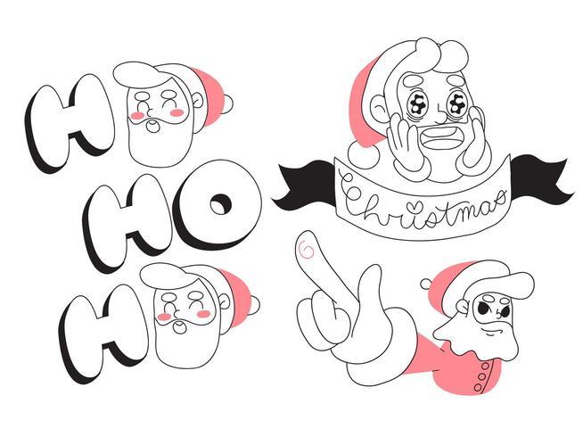 Projeto minimalista dos desenhos animados de Papai Noel de Natal vetor