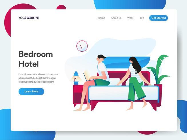 Modelo de página de destino do quarto de hotel vetor