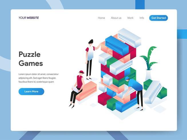 Modelo de página de destino de Jogos de Puzzle Isométrico vetor
