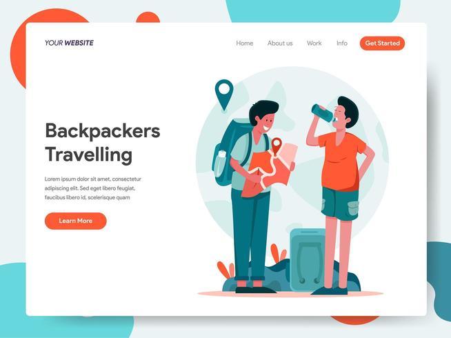 Modelo de página de destino de mochileiros viajantes vetor