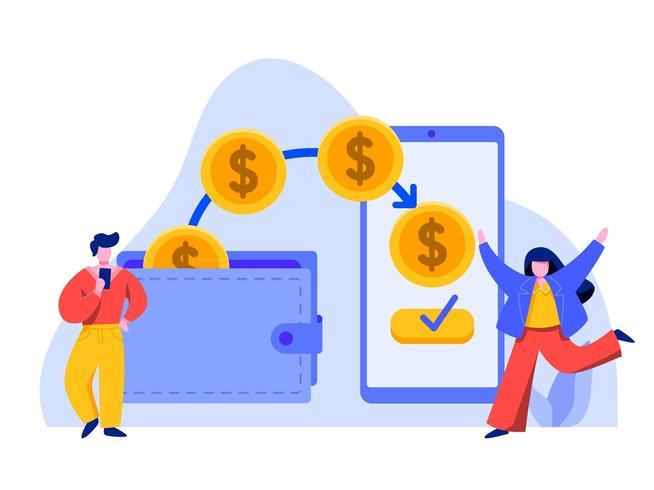 Transferência de dinheiro online com telefone vetor