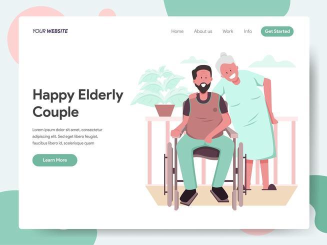 Modelo de página de destino do feliz casal de idosos vetor