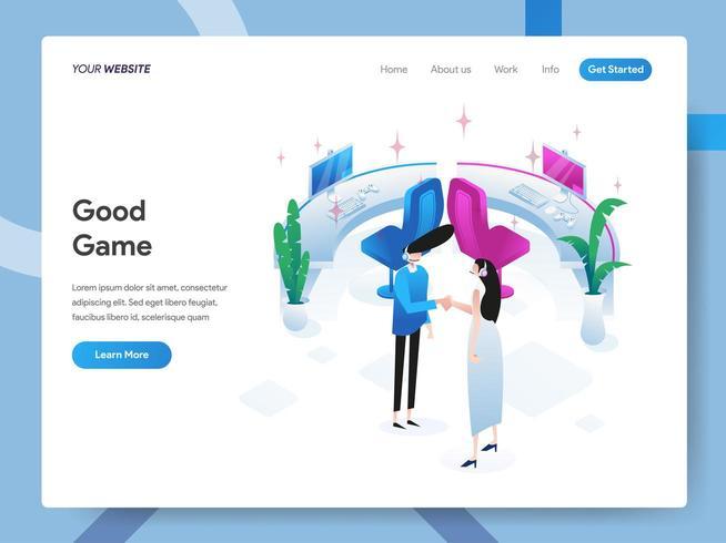 Modelo de página de destino do Good Game vetor