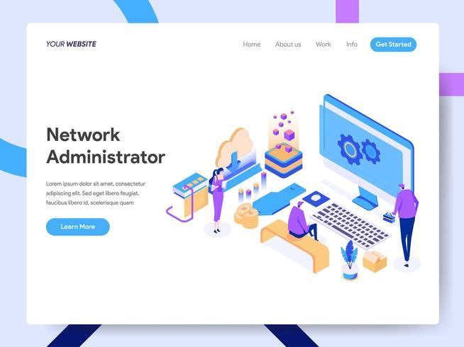 Modelo de página de destino do administrador de rede vetor