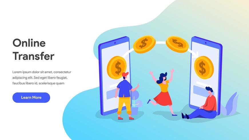 Modelo de página de destino de transferência de dinheiro online vetor
