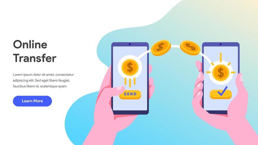 Transferência de dinheiro online com celular vetor