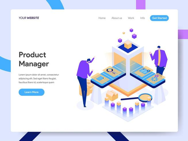 Modelo de página de destino do Digital Product Manager vetor