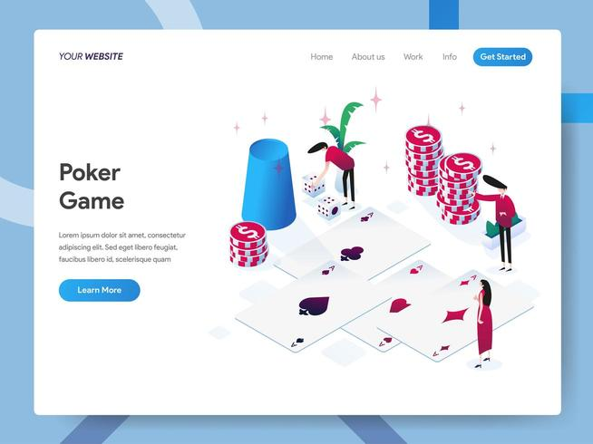 Modelo de página de destino do jogo de pôquer vetor