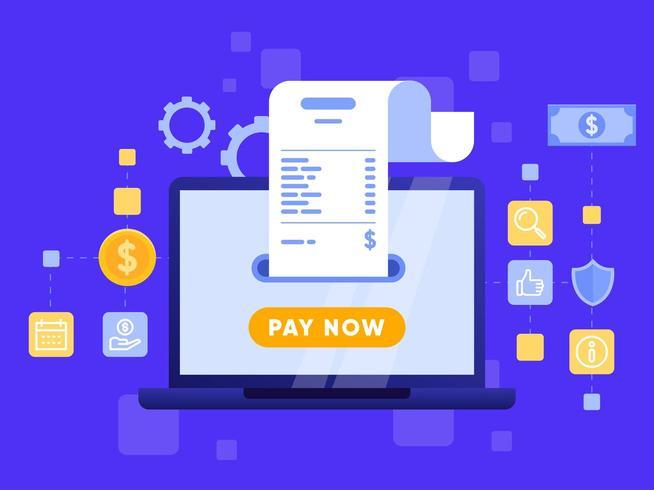 Pagamento móvel ou transferência de dinheiro com o conceito de computador portátil. vetor