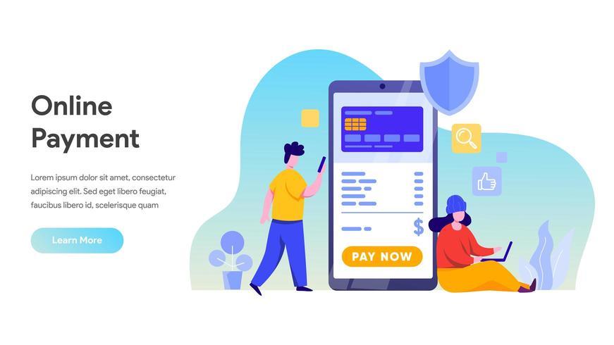 Pagamento móvel ou conceito de transferência de dinheiro. vetor