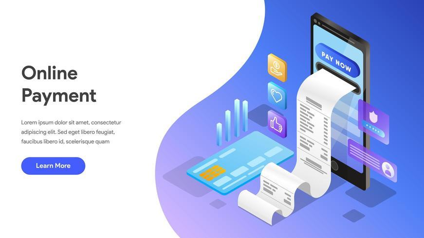 Modelo de página de destino de pagamento on-line com telefone celular vetor