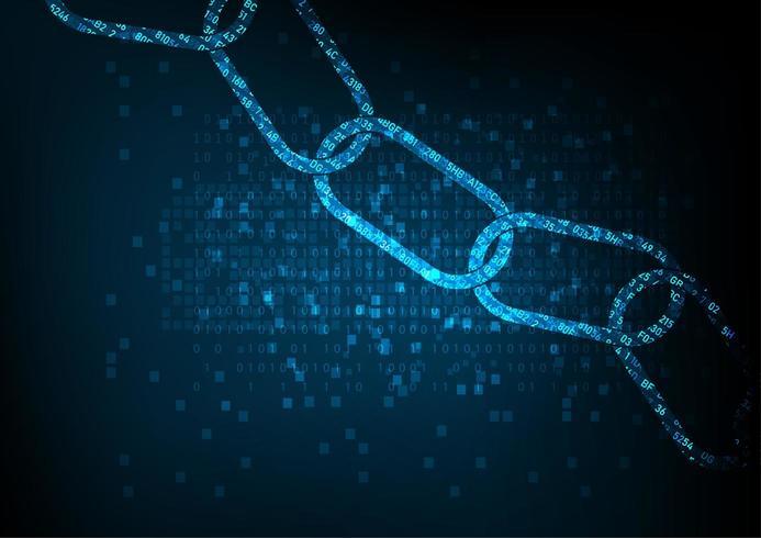 Conceito de cadeia de bloco com a cadeia de código digital criptografada. vetor