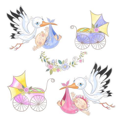 Conjunto de ilustrações. Cegonha com bebê. Carrinho de bebê . Chá de bebê. vetor