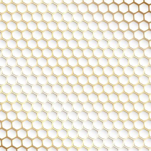 Decorativo ouro e branco hexagonal de fundo vetor