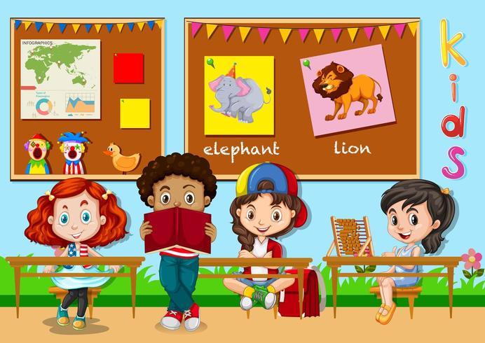 Crianças aprendendo em sala de aula vetor