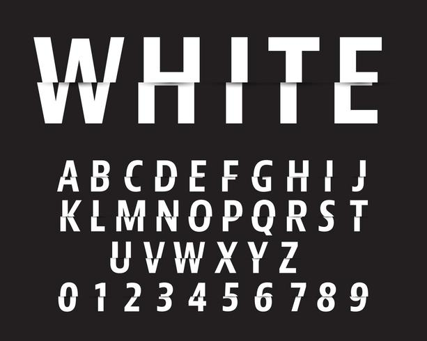 Corte o modelo de fonte do alfabeto. Projeto de corte de letras e números vetor