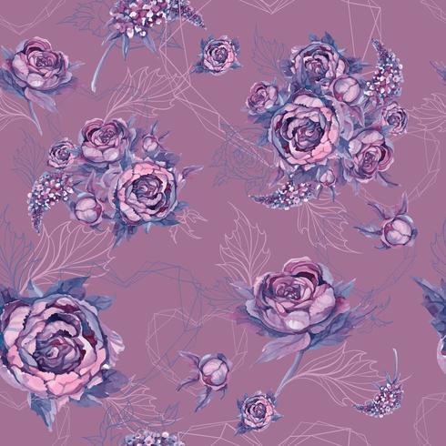 Teste padrão floral sem costura buquê de rosas, peônias e lilases vetor
