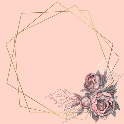 Moldura geométrica ouro com um buquê de flores. vetor