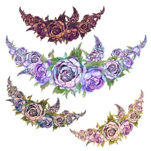 Conjunto de aquarela guirlandas de flores de peônias de rosas e lilases vetor