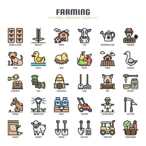Ícones de linha fina de agricultura vetor