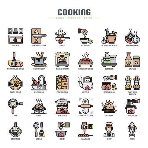 Ícones de linha fina de elementos de cozinha vetor