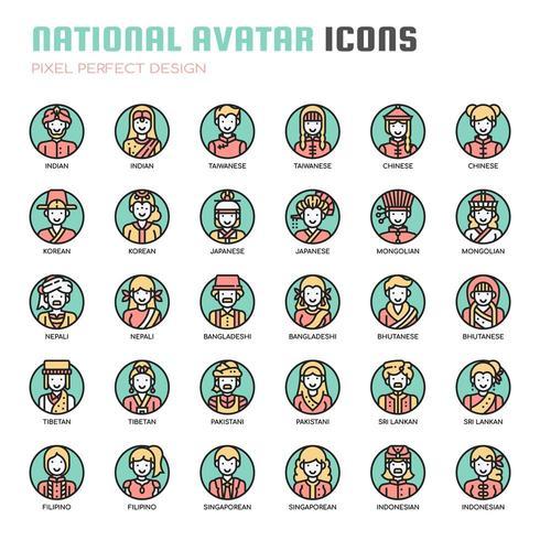 Ícones de linha fina de avatar nacional vetor