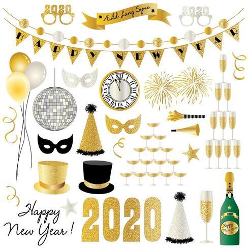 Gráficos de véspera de ano novo 2020 vetor