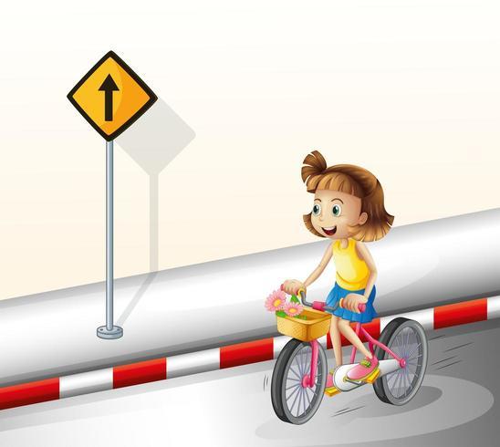 Uma garota de bicicleta na estrada vetor