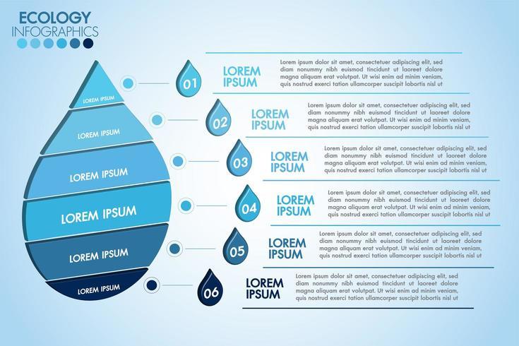Infográfico eco água azul design com 6 etapas vetor