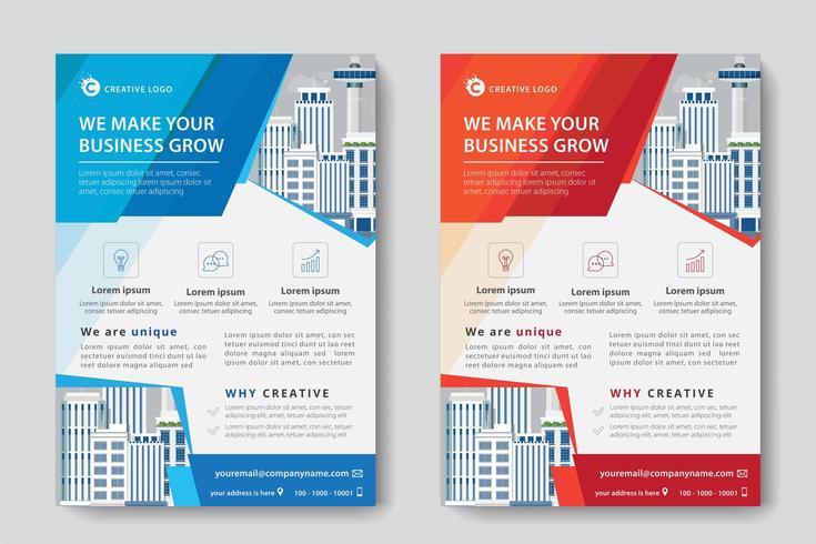 Modelo de negócios corporativos liso vermelho e azul vetor