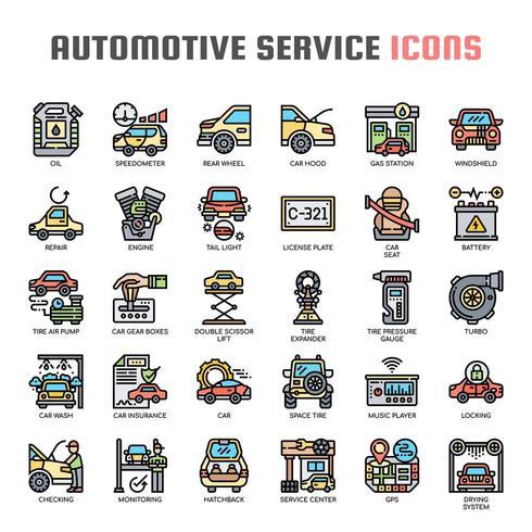 Ícones de linha fina de serviço automotivo vetor