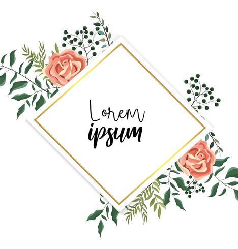 etiqueta com plantas de rosas e galhos exóticos vetor