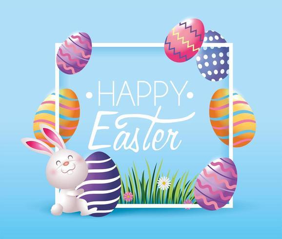 quadro com decoração de ovos de páscoa e coelho vetor