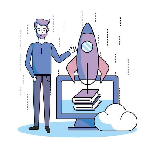 homem com livros on-line de computador e aplicativo de foguete vetor