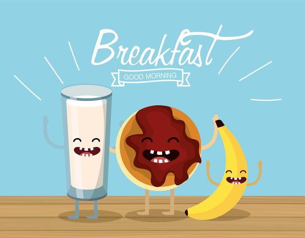copo de leite feliz com biscoito e banana vetor