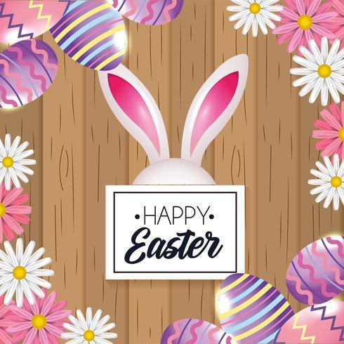 Emblema de feliz Páscoa com decoração de coelho e ovos de Páscoa vetor